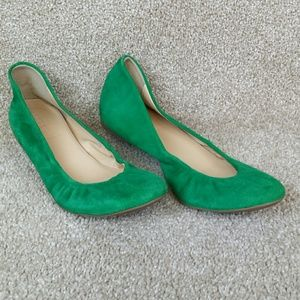 J Crew Green Suede Ballet Flats, Made in Italy